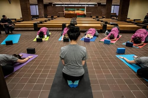 Michelle Bui leading yoga